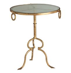 Hollywood Regency Antique Gold Tripod Modern Side Table | ART-6634