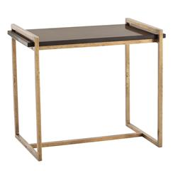 Arteriors Hollis Modern Black Marble Iron Rectangular Side Table