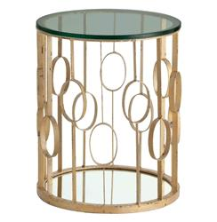 Xena Iron Hollywood Regency Circle Gold Leaf Room Side Table