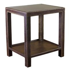 Alanya Modern Rustic Leather Nailhead Side Table | Kathy Kuo Home