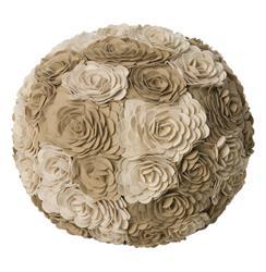 Alana Ivory Taupe Modern Woolen Floral Ottoman Floor Pouf