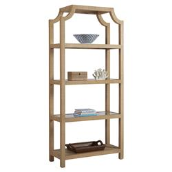 Barclay Butera Beachcomber Modern 4-Shelve Open Back Natural Raffia Bookcase