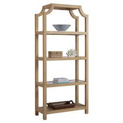 Barclay Butera Beachcomber Modern 4-Shelve Open Back Natural Raffia Bookcase