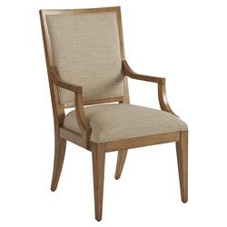 Barclay Butera Eastbluff Modern Beige Upholstered Brown Wood Dining Arm Chair