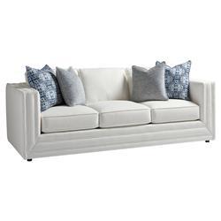 Astounding Barclay Butera Mercer Modern Double Welt Ivory Upholstered Black Wood Sofa Short Links Chair Design For Home Short Linksinfo