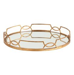 Hollywood Regency Large Gold Link Mirrored Tray