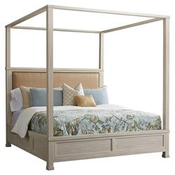 Barclay Butera Shorecliff Modern Brown Upholstered Whitewash Wood Canopy Bed - King