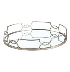 Hollywood Regency Large Silver Link Oval Mirrored Tray | ART-3137