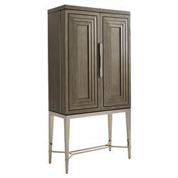 Lexington Cheval Modern Classic Platinum Legs Wooden Bar Cabinet Tall
