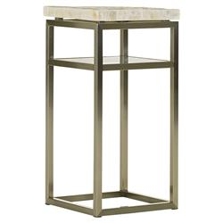 Lexington Cliffside Modern Stainless Steel Base White Stone Top Nightstand