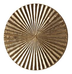 "Apollo Metallic Silver Modern Wood Circle Wall Art Decor - 12""H 