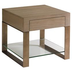 Lexington Empire Modern Removable Glass Shelf 1-Drawer Gold Leaf Side End Table
