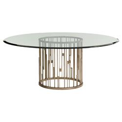 Lexington Rendezvous Modern Small Round Glass Top Silver Base Dining Table - 60D