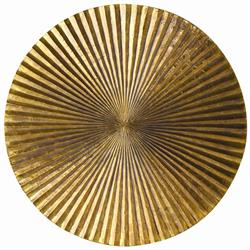Apollo Metal Wood Crimped Gold Wall Plaque Disc - 12 Inch