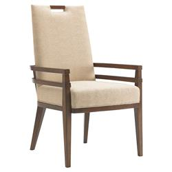 Tommy Bahama Coles Bay Modern Beige Upholstered Brown Wood Dining Arm Chair