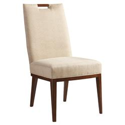 Tommy Bahama Coles Bay Modern Beige Upholstered Brown Wood Dining Side Chair