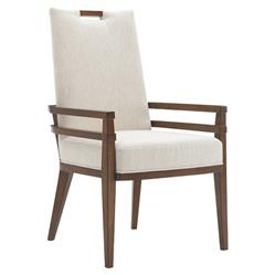 Tommy Bahama Coles Bay Modern White Upholstered Brown Wood Dining Arm Chair
