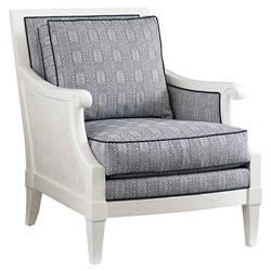 Tommy Bahama Harris Coastal Beach Blue Upholstered White Wood Living Room Chair