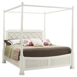 Tommy Bahama Luka Coastal Beach White Wood Canopy Poster Bed - King