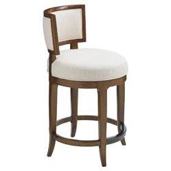 Tommy Bahama Macau Modern White Upholstered Curved Back Brown Swivel Counter Stool