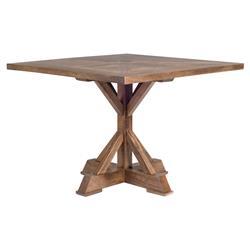 Bryant Rustic Lodge Square Mango Wood Pedestal Dining Table
