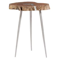 Vicky Modern Classic Tree Stump Top Silver Legs Side End Table