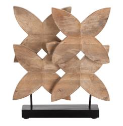 Ella Modern Floral Carved Wood Sculpture on Stand