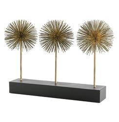 Atlantis Gold Iron Puff Sculpture Trio on Stand