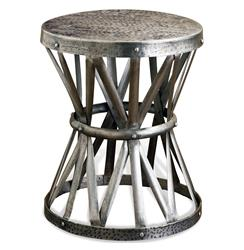 Araby Rustic Hammered Antique Silver Accent Side Table | 128017