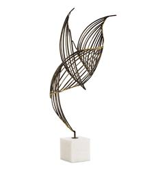 Cai Large Modern Sculptural Wire Frame Bird on White Marble
