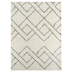 Brighton White Black Diamond Pattern Shag Rug - 2'x3'