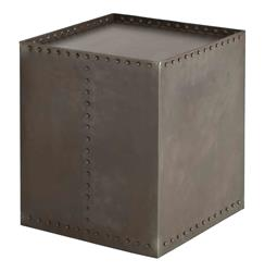 Arteriors Richland Industrial Loft Iron Riveted Cube Side Table
