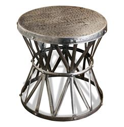 Araby Rustic Hammered Metal Antique Silver Side Table- Large | 128018