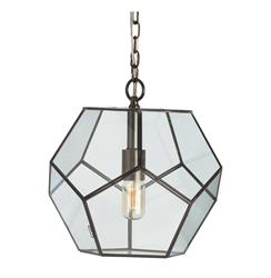 "Tenley Modern Bronze Iron Pentagon Glass Pendant - 14""D 