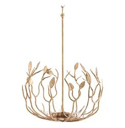 Upton Antique Gold Hollywood Regency Leaf 5 Light Iron Pendant Light | ART-46760