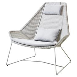 Cane-line Breeze Modern Light Grey White Cushion Outdoor Highback Lounge Chair