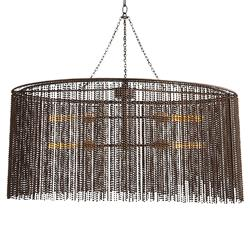 Maxim Dark Antique Iron Beaded Oval 4 Light Chandelier