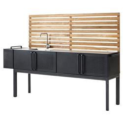 Cane-line Drop Modern Dark Grey Aluminum Teak Outdoor Kitchen