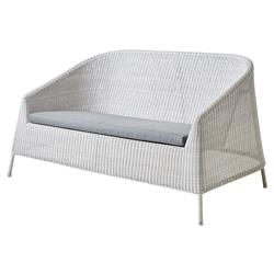 Cane-line Kingston Modern Grey Stackable White Cushion Outdoor 2 Seater Sofa