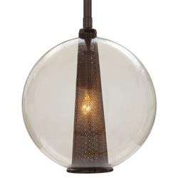 Arteriors Caviar Brown Nickel Round Smoke Glass Pendant Light