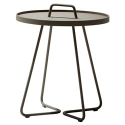 Cane-line On-the-move Modern Brown Aluminum Outdoor Side End Table - Small