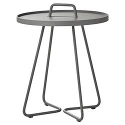 Cane-line On-the-move Modern Grey Aluminum Outdoor Side End Table - Small