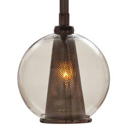 Cavlar Small Antique Brown Steel Smoke Glass Pendant Light