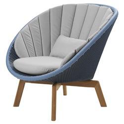 Cane-line Peacock Coastal Blue Light Grey Cushion Outdoor Lounge Chair