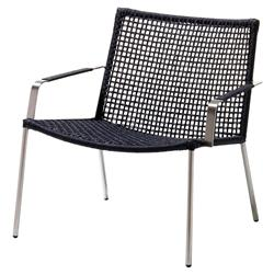Cane-line Straw Modern Black Rope Aluminum Stackable Arm Chair