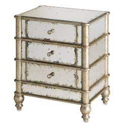 Harlow Hollywood Regency Antique Mirror 3 Drawer Nightstand | CC-4211