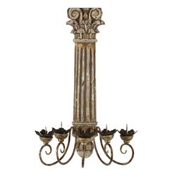 Wood Corinthian Pillar Antique Gold Large Candelabra