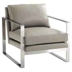 Theodore Alexander Bower Club Grey Leather Silver Metal Living Room Chair