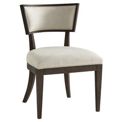 Theodore Alexander Modern Bristow Brown Wood Grey Upholstered Dining Chair