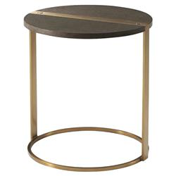 Theodore Alexander Modern Carson Round Gold Metal Brown Wood Side Table